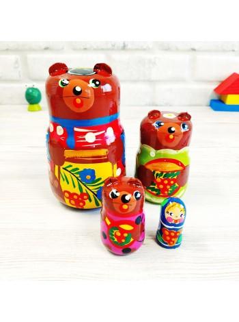 """Матрёшка """"Три медведя"""" 4 персонажа купить"""
