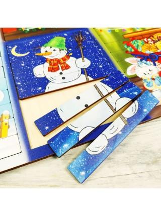 Новогодние пазлы из палочек, Smile-Decor П234
