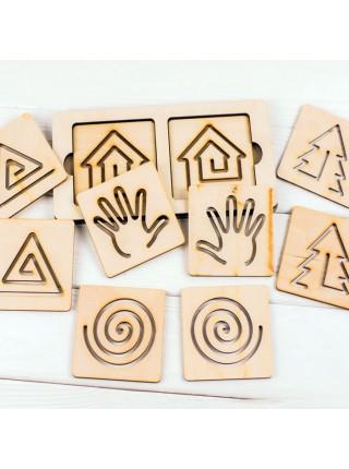 Прописи для рисования двумя руками (10 дощечек, 5 пар сменных линеек)