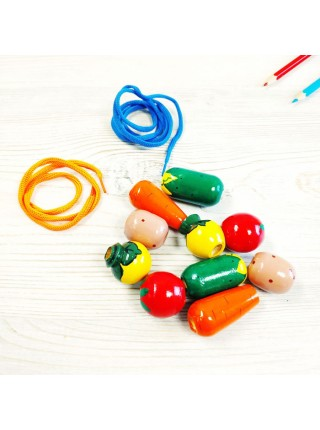"""Шнуровка - бусы """"Овощи"""", бусина: 2,5-4,5 см"""