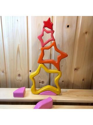 Объемный деревянный пазл балансир для детей Звезды