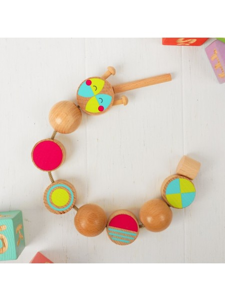 """Шнуровка """"Гусеница"""", развивающая деревянная игрушка, 9 деталей"""