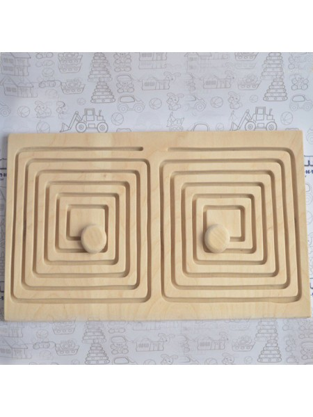 Межполушарная доска - деревянный лабиринт (квадрат)