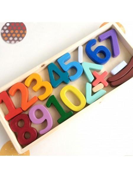 """Объемный набор деревянные цифры и знаки """"Учусь считать"""""""