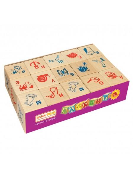 Деревянные Кубики Алфавит и рисунок, 15шт. Пелси И675
