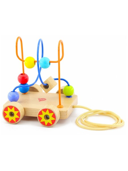 Развивающий Лабиринт-каталка с бусинами - деревянная игрушка