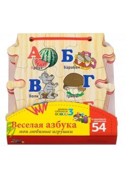 """Книжка-пазл """"Алфавит"""" Деревянная, 54 элемента"""