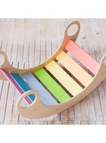 Деревянная качалка мостик детская Радуга (пастельная), купить