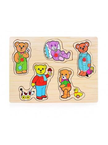 Деревянный пазл вкладыш медвежата PG-7015 Щепочка купить