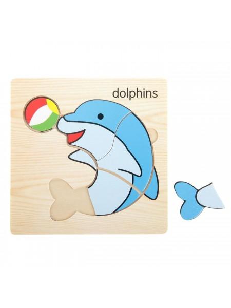 """Пазл-вкладыш на деревянном основании """"Дельфин"""""""