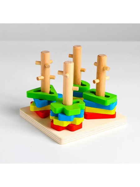 Пирамидка Логический квадрат малый, 16 деталей