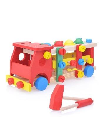 """Стучалка-конструктор 2 в 1 """"Машинка"""", 4 шарика, молоток, отвертка купить"""