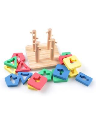 Пирамидка-сортер Игрушки из дерева Логическай квадрат малый