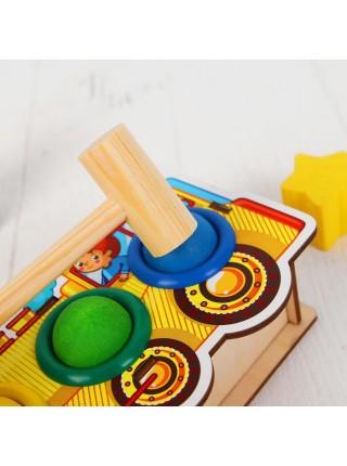 """Стучалка-сортер """"Паровоз"""", с молотком WoodLand Toys"""