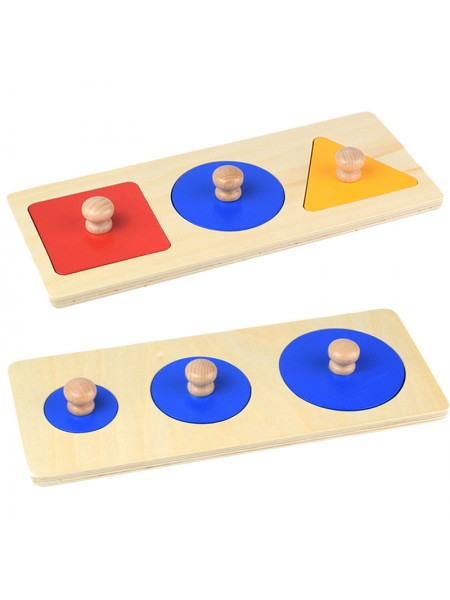 Геометрические пазлы: шесть фигур на 2-х подставках Монтессори