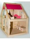 Деревянный кукольный домик с мебелью купить