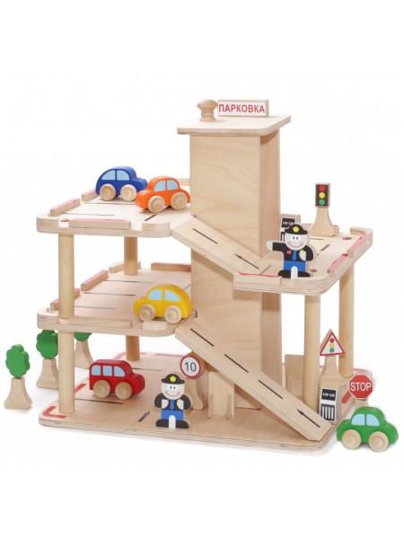Парковка - Деревянный кукольный домик (с наклейками и набором знаков дор. движ.)