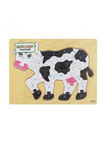 Деревянный пазл коровка, английский алфавит купить