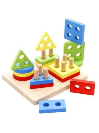 Пирамидка-сортер Доска с геометрическими фигурами