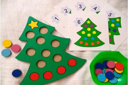 Математические игры с Новогодней тематикой - Мозаика ёлочка