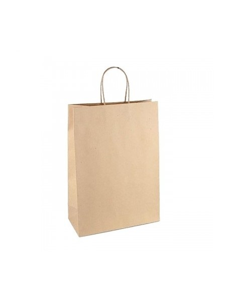 Пакет крафт без печати, плоская ручка 24 х 14 х 28 см