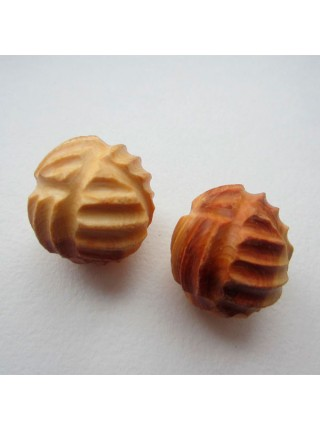 Тактильные можжевеловые шарики рифленые. 2 штуки