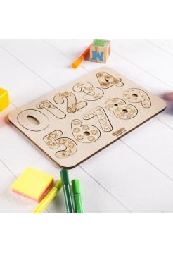 """Рамка-вкладыш """"Изучаем цифры"""" (неокрашенная) WoodLand Toys"""