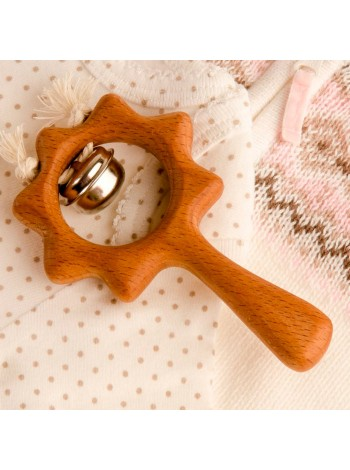 Деревянная погремушка с бубенцом Солнышко, купить