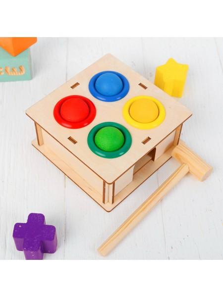 Стучалка-сортер Квадратная, с молотком WoodLand Toys