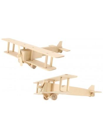 Деревянный конструктор Самолет-биплан купить