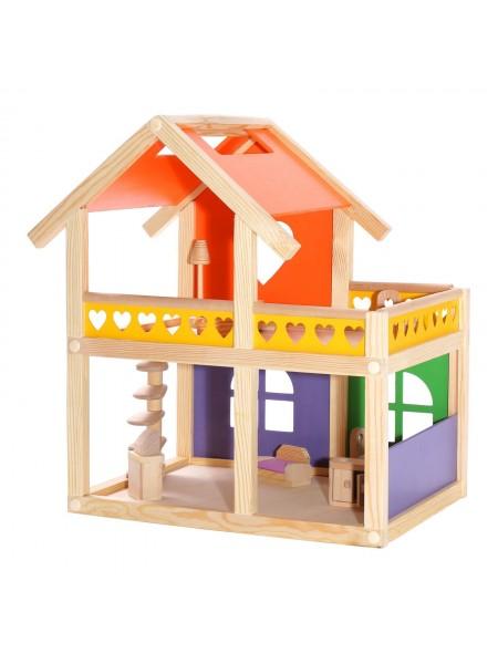 """Кукольный домик """"Уютный коттедж"""" без мебели Дворики 0005"""