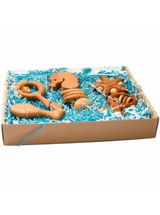 """Подарочный набор деревянных погремушек """"Сокровища синего моря, большой"""". Леснушки L1707"""